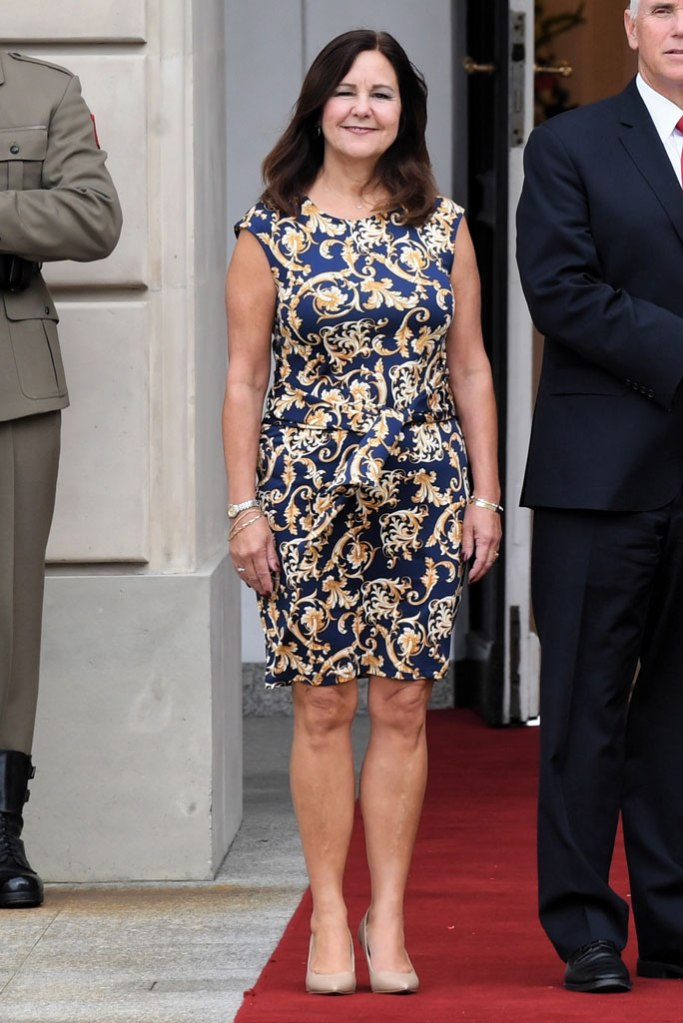 Karen Pence, celebrity style, Warsaw Poland, mike pence wife, Vice president, patterned dress, nude pumps, pointy toe pumps, stilettos