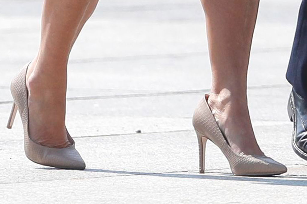 Karen Pence, croc-print pumps, celebrity style, shoe style, Warsaw, Poland