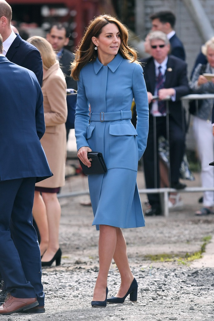 Kate Middleton, Alexander McQueen, coat dress, emmy London shoes, blue suede pumps, royal style, Catherine Duchess of CambridgeRRS Sir David Attenborough polar ship naming ceremony, Cammell Laird Shipyard, Birkenhead, UK - 26 Sep 2019Owned by the Natural Environment Research Council (NERC) and operated by the British Antarctic Survey (BAS), the RRS Sir David Attenborough will enable world-leading research to be carried out in Antarctica and the Arctic over the next 25 to 30 years. Studying these remote regions plays a crucial role in allowing us to understand the changes in our planet's oceans, marine life and climate systems. The ship will be available year-round to the UK's research community. On board, Their Royal Highnesses will meet a team of engineers from Cammell Laird who have been involved in the ship's build, including young apprentices. Founded in Birkenhead in 1828, Cammell Laird specialises in ship building, repair, refit and conversion as well as providing engineering services to the energy sector. Wearing Alexander McQueen, Worn BeforeCatherine Duchess of CambridgeRRS Sir David Attenborough polar ship naming ceremony, Cammell Laird Shipyard, Birkenhead, UK - 26 Sep 2019Owned by the Natural Environment Research Council (NERC) and operated by the British Antarctic Survey (BAS), the RRS Sir David Attenborough will enable world-leading research to be carried out in Antarctica and the Arctic over the next 25 to 30 years. Studying these remote regions plays a crucial role in allowing us to understand the changes in our planet's oceans, marine life and climate systems. The ship will be available year-round to the UK's research community. On board, Their Royal Highnesses will meet a team of engineers from Cammell Laird who have been involved in the ship's build, including young apprentices. Founded in Birkenhead in 1828, Cammell Laird specialises in ship building, repair, refit and conversion as well as providing engineering services to the energy sector. Wearing Alexander McQueen, Worn Before