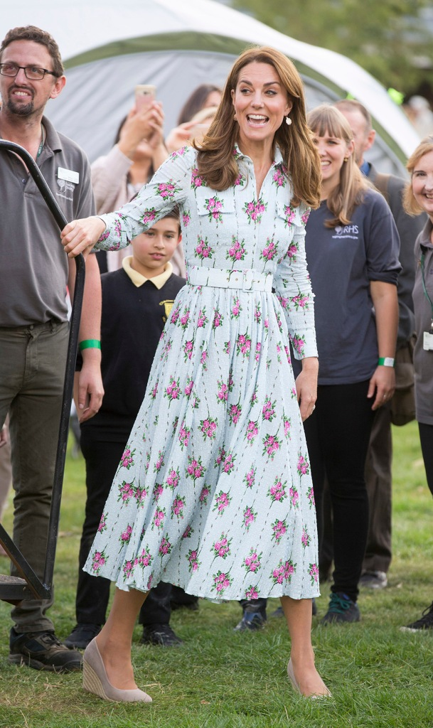 Kate Middleton, floral dress, Emilia Wickstead, monsoon, wedge heels, celebrity style, Catherine Duchess of Cambridge.Back to Nature Festival, RHS Garden Wisley, Woking, UK - 10 Sep 2019Wearing Emilia Wickstead