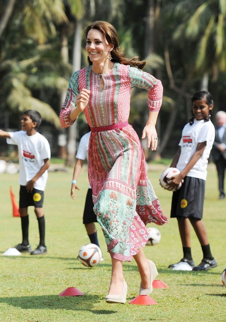 Kate Middleton, monsoon wedges, wedge heels, celebrity shoe style, Catherine Duchess of Cambridge at Oval Maidan recreational ground, South MumbaiPrince William and Catherine Duchess of Cambridge visit to India - 10 Apr 2016Prince William and Catherine Duchess of Cambridge meet children from Magic Bus, Childline and Doorstep; three NGOs who will benefit from a charity Gala, and join a game of cricket at Mumbai's iconic recreation ground with a local cricket academy