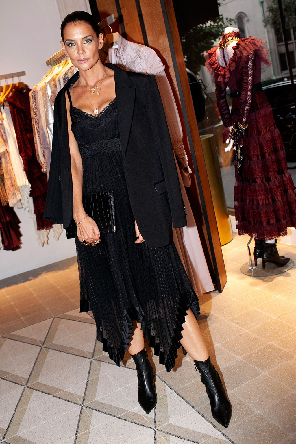 Katie Holmes, lace dress, black booties, leather boots, legs, all black outfit, Zimmermann Dinner and Store Party, New York Fashion Week, USA - 04 Sep 2019Wearing Zimmermann