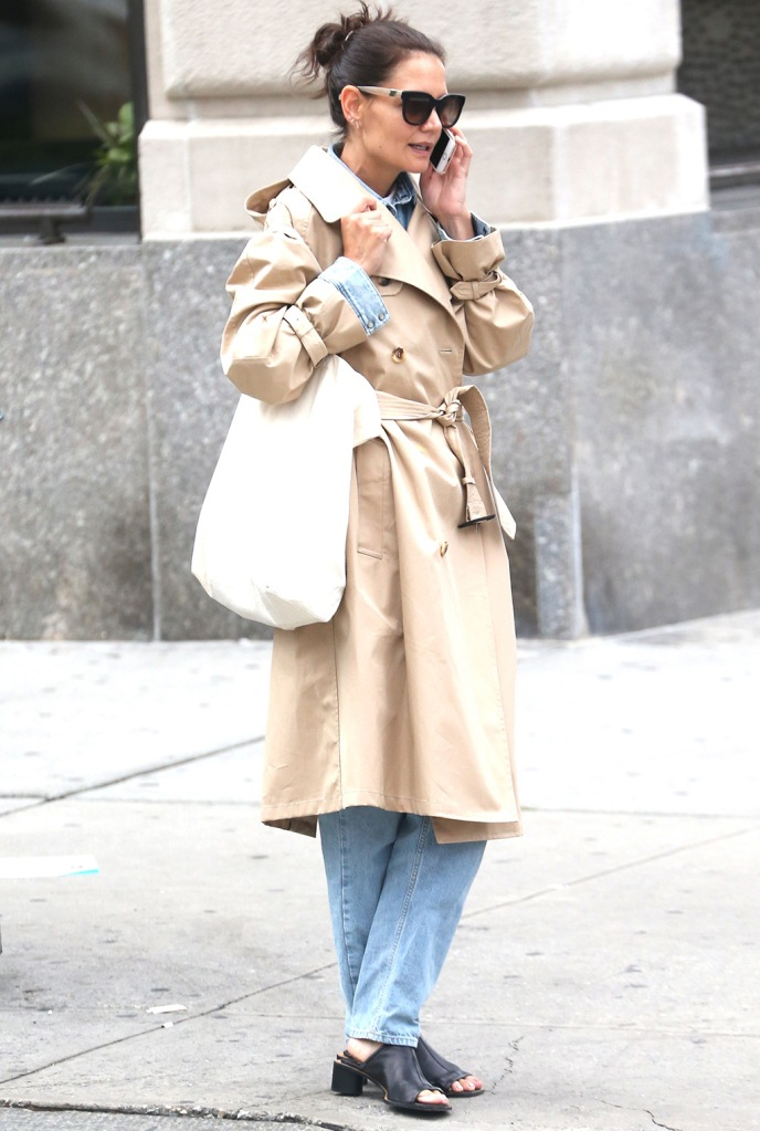 Katie Holmes, trench coat, westward leaning sunglasses, mom jeans, mom mules, acne studios shoes, Katie Holmes out and about, New York, USA - 16 Sep 2019