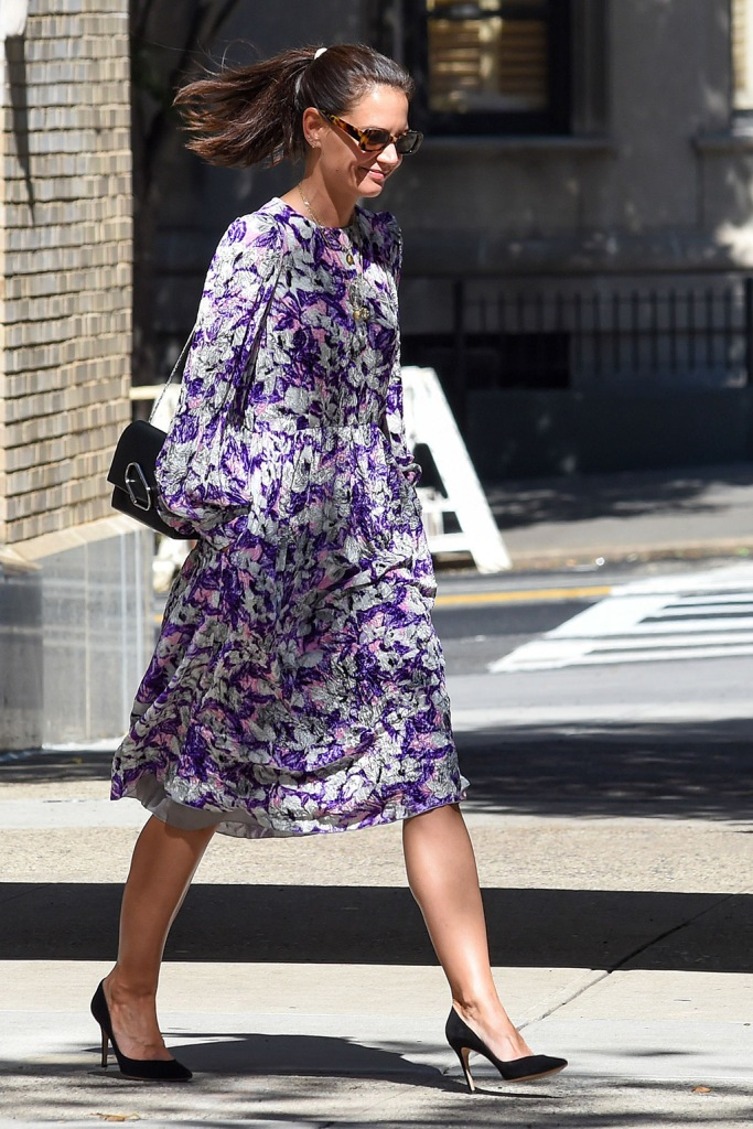 Katie Holmes, floral dress, classic black pumps, celebrity style, mango sunglasses, nyc, Katie Holmes out and about, New York, USA - 17 Sep 2019