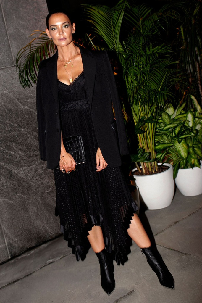 Katie Holmes, lace dress, legs, blazer, cleavage, New York fashion week, nyc, updo, gold necklaces, lace dress, leather boots, pointy-toe booties, Zimmermann Dinner and Store Party, New York Fashion Week, USA - 04 Sep 2019Wearing Zimmermann