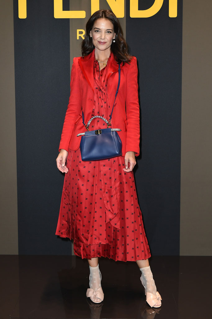 Katie holmes, fendi, front row, spring 2020, runway, Milan fashion week, celebrity style, September 2019, red blazer, blue handbag, printed dress, sheer socks, sandals, bow shoes