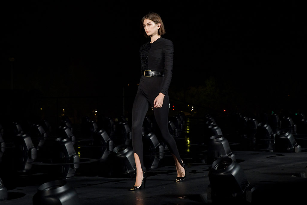 Kaia Gerber, Saint Laurent, spring '20, Paris Fashion Week.