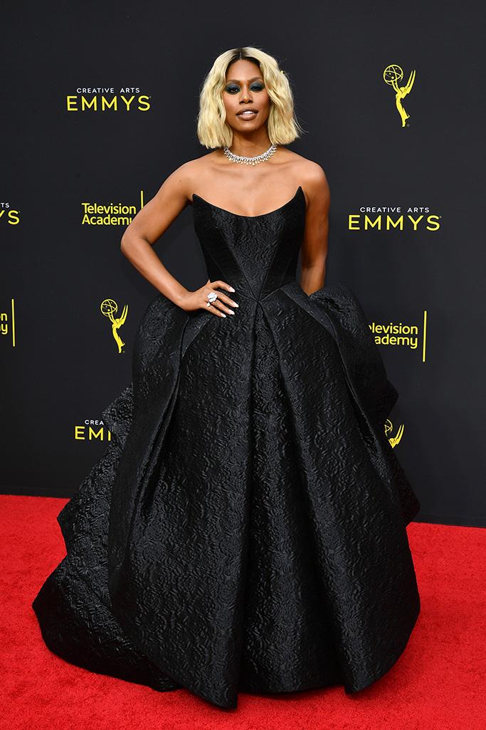 Laverne Cox, zac posen dress, 71st Annual Primetime Creative Arts Emmy Awards, Day 2, Arrivals, Microsoft Theater, Los Angeles, USA - 15 Sep 2019