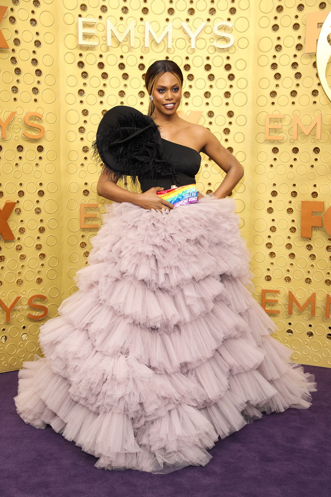 Laverne Cox, red carpet, gown, clutch, political statement, celebrity style, emmy awards