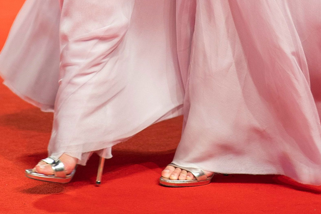 Lily-Rose Depp, jimmy Choo shoes, silver sandals, stilettos, red carpet, chanel gown, chanel haute couture fall 2019, poses for photographers upon arrival at the premiere of the film 'The King' at the 76th edition of the Venice Film Festival, Venice, ItalyFilm Festival 2019 The King Red Carpet, Venice, Italy - 02 Sep 2019