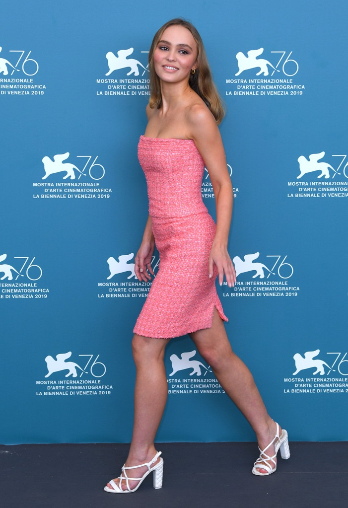 Lily-Rose Depp, chanel dress, pink dress, chanel sandals, grosgrain sandals, celebrity style, red carpet, 'The King' photocall, 76th Venice Film Festival, Italy - 02 Sep 2019Wearing Chanel