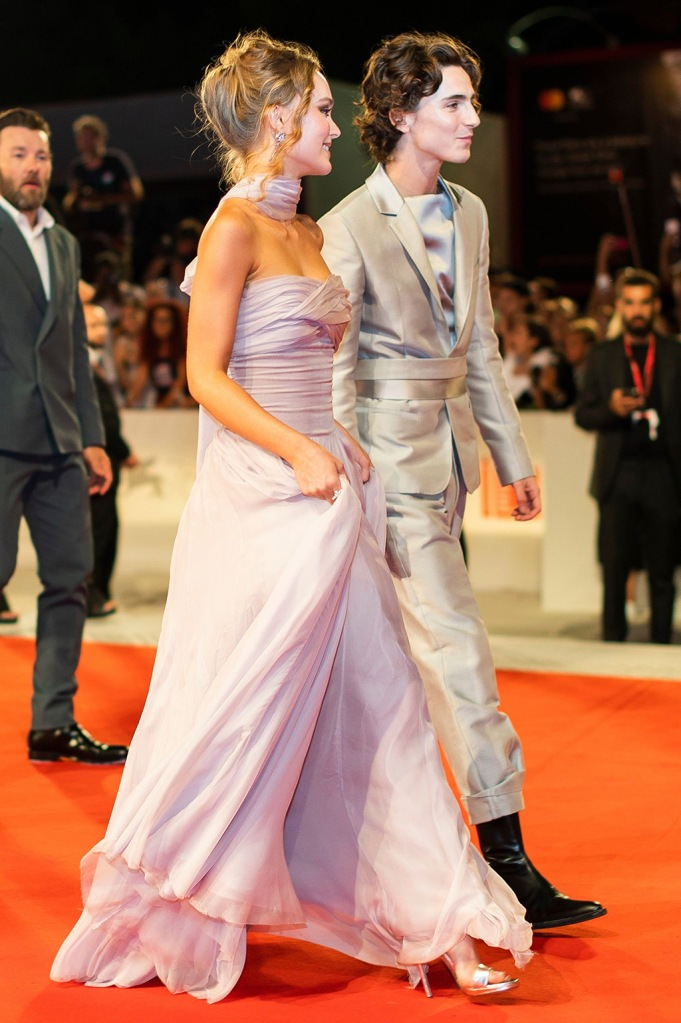 Lily-Rose Depp, Timothee Chalamet. Lily-Rose Depp, left, and Timothee Chalamet pose for photographers upon arrival at the premiere of the film 'The King' at the 76th edition of the Venice Film Festival, Venice, ItalyFilm Festival 2019 The King Red Carpet, Venice, Italy - 02 Sep 2019