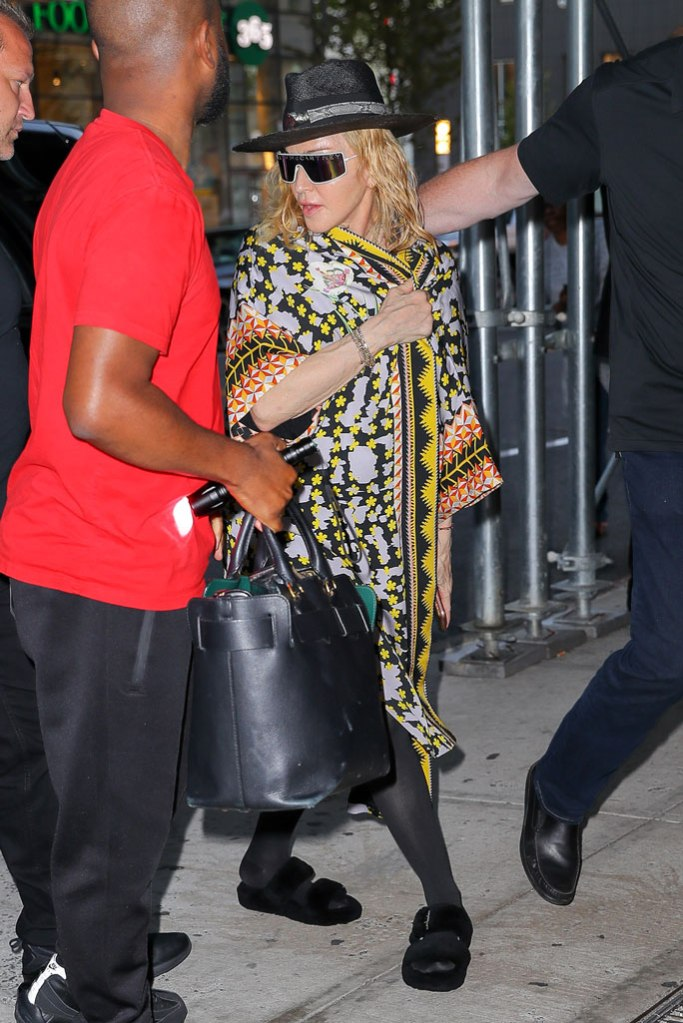 Madonna, celebrity style, Temperley London, kimono, ugg slippers, fuzz yeah, sandals, Stella McCartney sunglasses, New York city, madame x tour
