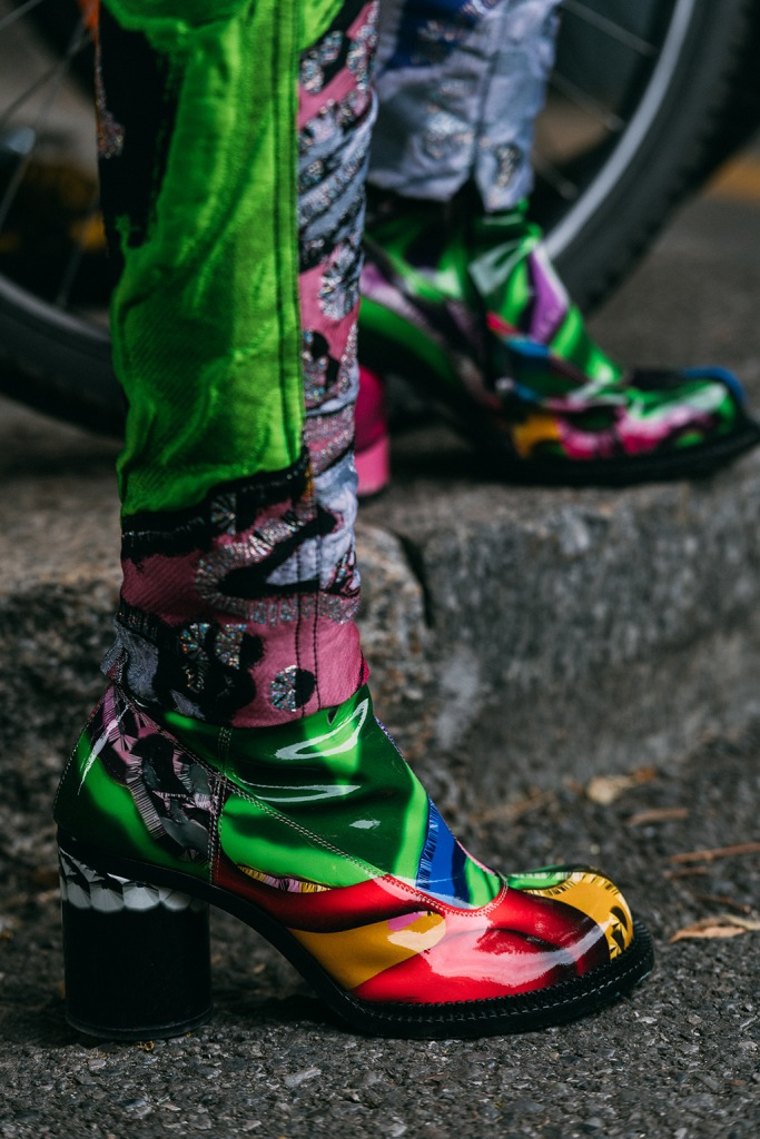 Maison Margiela, street style, patterned boots, Milan fashion week spring 2020, statement shoes