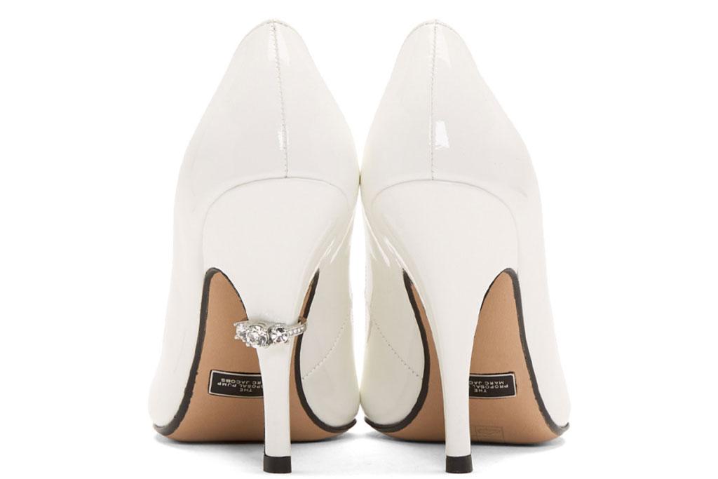 Marc Jacobs, the proposal, white pumps, stilettos, crystal shoes