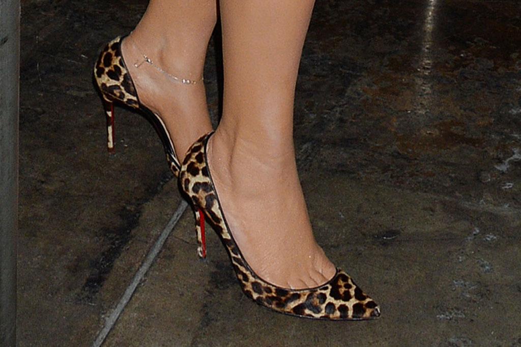 Mariah carey, leopard print, pumps, christian louboutin pigalle follies, celebrity shoe style, toes, footwear, los angeles, street style