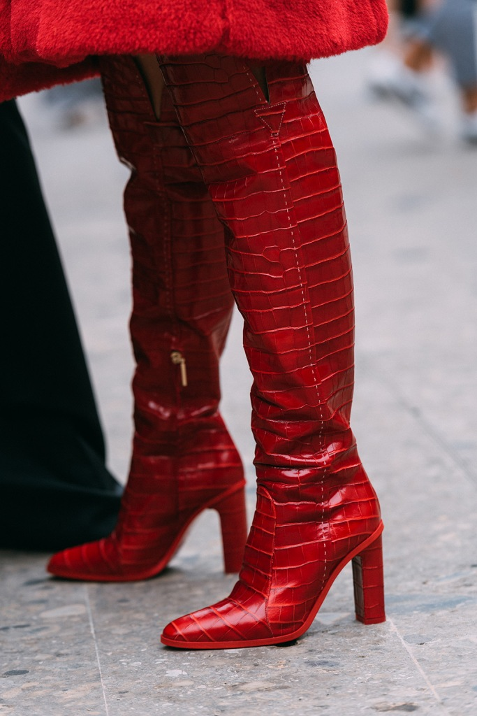 Max Mara, red boots, Milan fashion week, street style