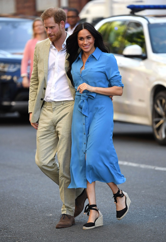 Meghan Markle, Castañer shoes, wedge sandals, Veronica beard Dress, blue shift dress, legs, celebrity style, royal style, Duchess of Sussex at District 6 museum, Cape Town, South AfricaPrince Harry and Meghan Duchess of Sussex visit to Africa - 23 Sep 2019 Prince Harry and Meghan Duchess of Sussex at District 6 museum, Cape Town, South AfricaPrince Harry and Meghan Duchess of Sussex visit to Africa - 23 Sep 2019