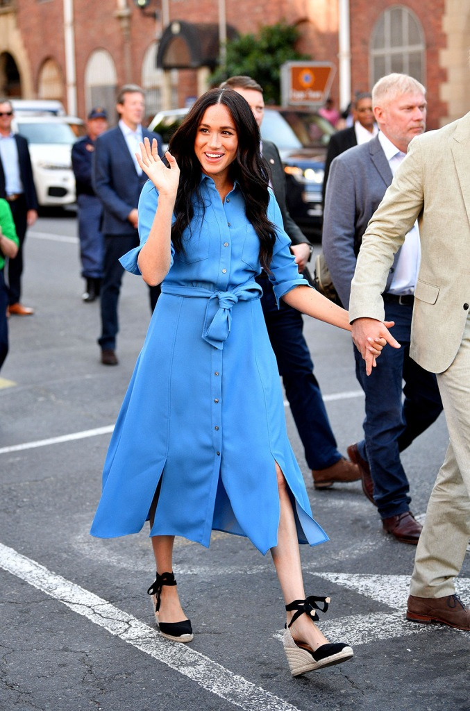 Meghan, Castañer shoes, wedge sandals, Veronica beard Dress, blue shift dress, legs, celebrity style, royal style, Duchess of Sussex at District 6 museum, Cape Town, South AfricaPrince Harry and Meghan Duchess of Sussex visit to Africa - 23 Sep 2019