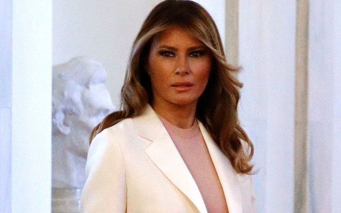 First lady Melania Trump walks to a ceremony for President Donald Trump to present the Presidential Medal of Freedom to former New York Yankees baseball pitcher Mariano Rivera, in the East Room of the White House, in WashingtonTrump, Washington, USA - 16 Sep 2019