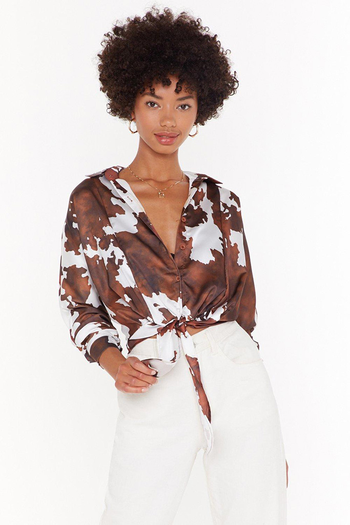 Nasty Gal Cow Do I Know You Satin Tie Front Shirt