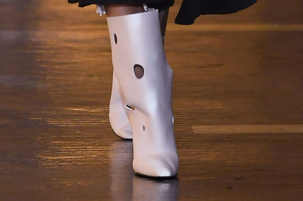 Off-White, spring 2020, white boots, Swiss cheese, runway, Paris fashion week, shoe detail