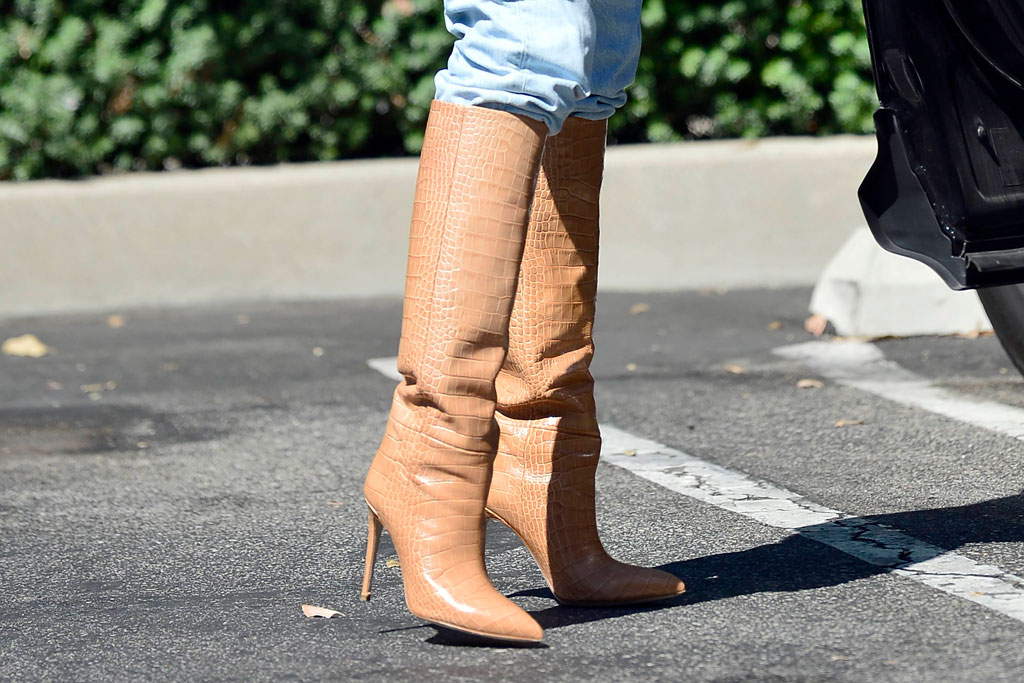 Olivia culpo, knee-high boots, tan boots, celebrity style, stilettos, Los Angeles