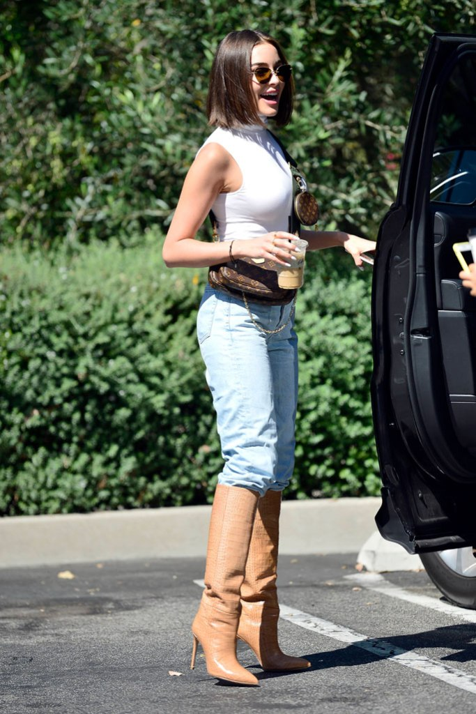 Olivia culpo, street style, celebrity style, knee-high boots, Louis Vuitton bag, bob, sunglasses, Los Angeles