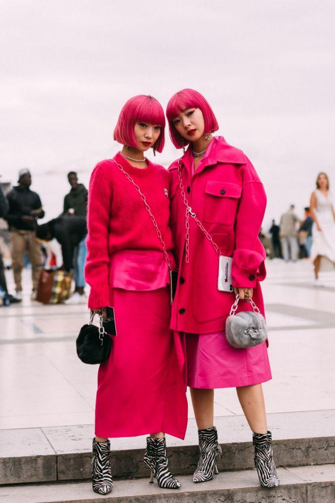 amiaya twins, giuseppe zanotti, zebra booties, pfw, spring 2020, paris fashion week, street style, streetstyle, trendy, shoes
