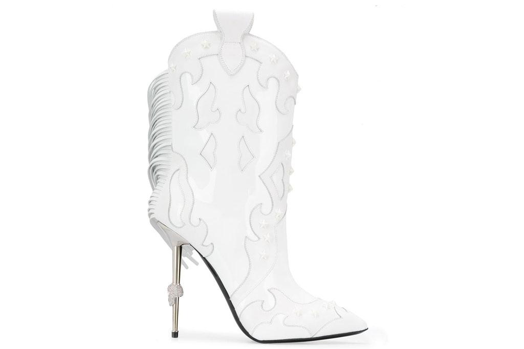 Philipp Plein, white boots, stilettos, western boots