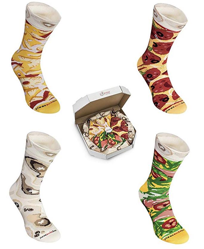 pizza box socks, novelty socks, mens, womens, pepperoni pizza