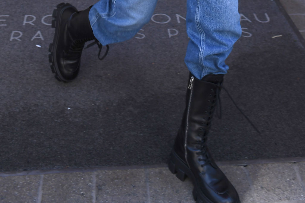 Bella Hadid, Prada, combat boots, celebrity style, Paris, France, Paris fashion week