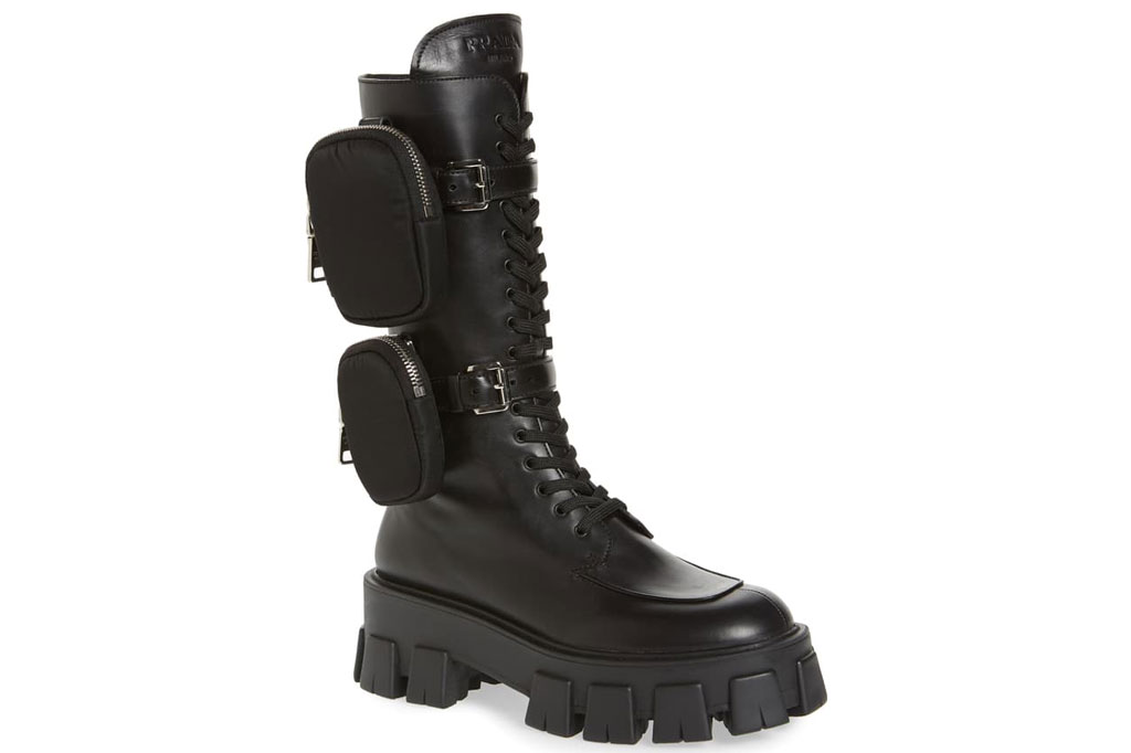 Prada, combat boots, bella hadid