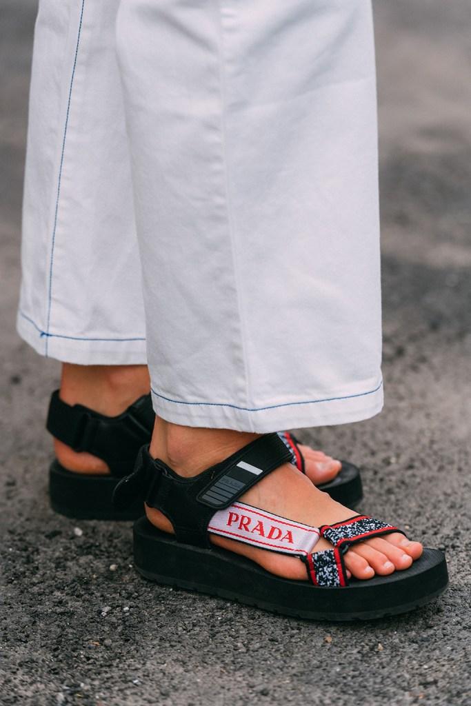 Prada, sandals, mfw, street style, comfort shoes