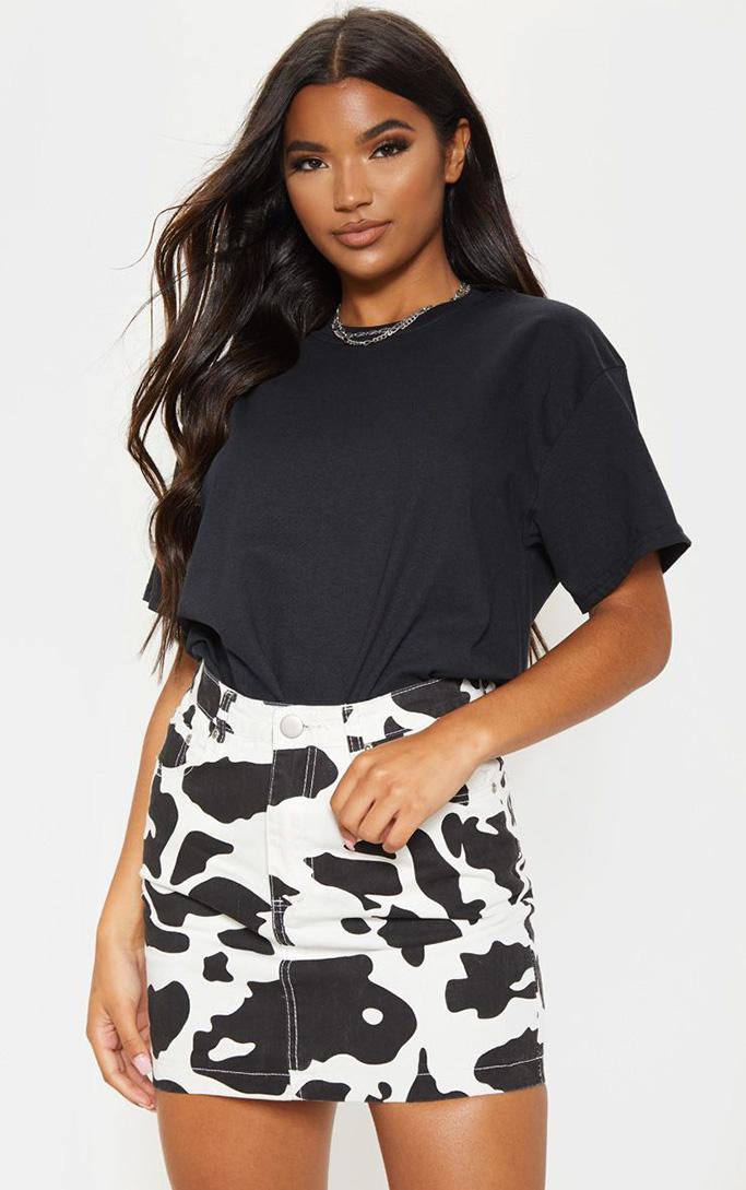Pretty Little Thing Cow Print Denim Mini Skirt