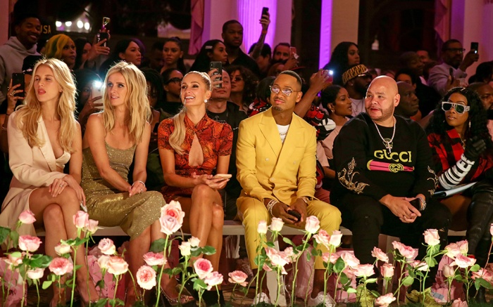 Nicky Hilton Rothschild, Paris Hilton, Terrence J, Fat Joe and Remy Ma in the front rowPrettyLittleThing x Saweetie show, Front Row, Spring Summer 2020, New York Fashion Week, USA - 08 Sep 2019