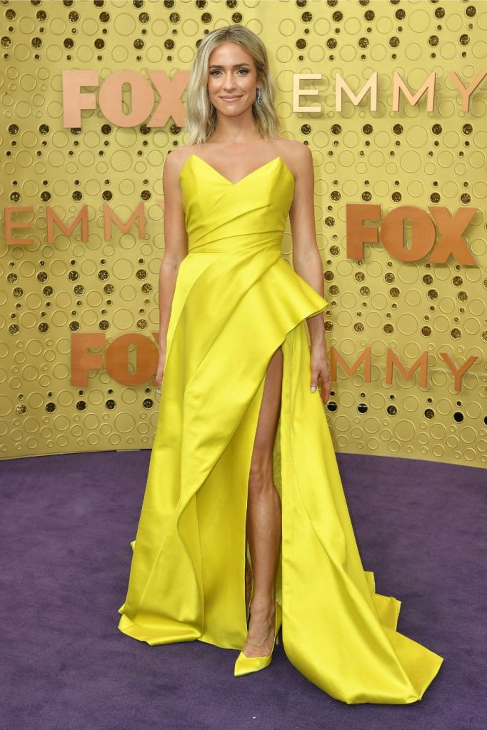 Kristin Cavallari, yellow dress, stuart weitzman shoes, red carpet, emmy awards.