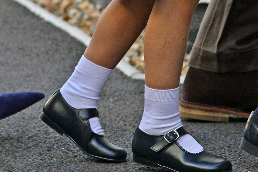 Princess Charlotte, school uniform, first day of school, regulation dress shoes, Thomas's Battersea, London, Mary Janes, regulation shoes, white socks