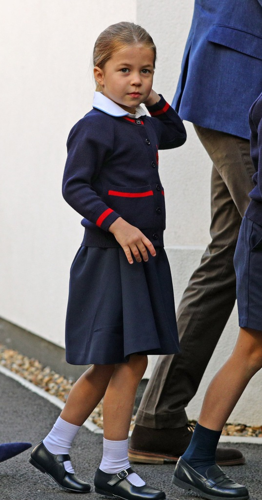 Princess Charlotte, British royals, Mary Janes, shoes, dress, pinafore, sweater, as she arrives for her first day at school at Thomas's Battersea in London.Princess Charlotte's first day at school, Thomas's Battersea, London, UK - 05 Sep 2019