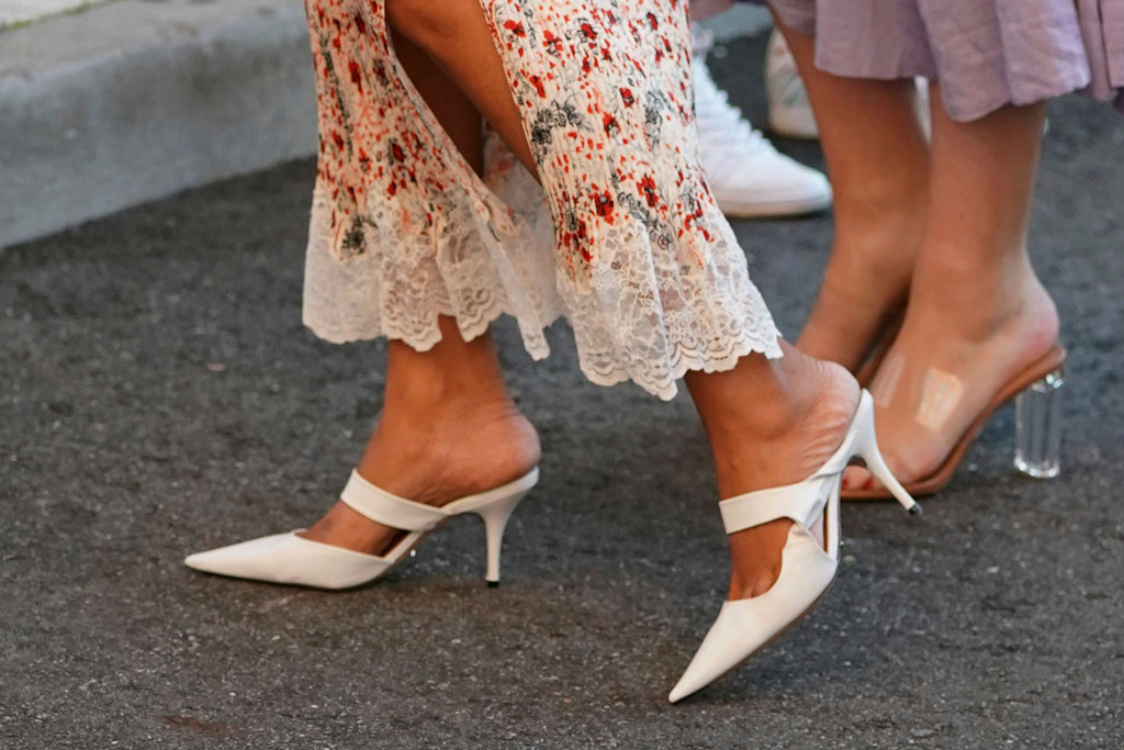 Priyanka Chopra, Tony Bianco shoes, white pumps, stilettos, Paco Rabanne, floral skirt, legs, checked blazer, lace top, attends the quarterfinals of the U.S. Open tennis championships, in New York2019 US Open Tennis - Day 9, New York, USA - 03 Sep 2019
