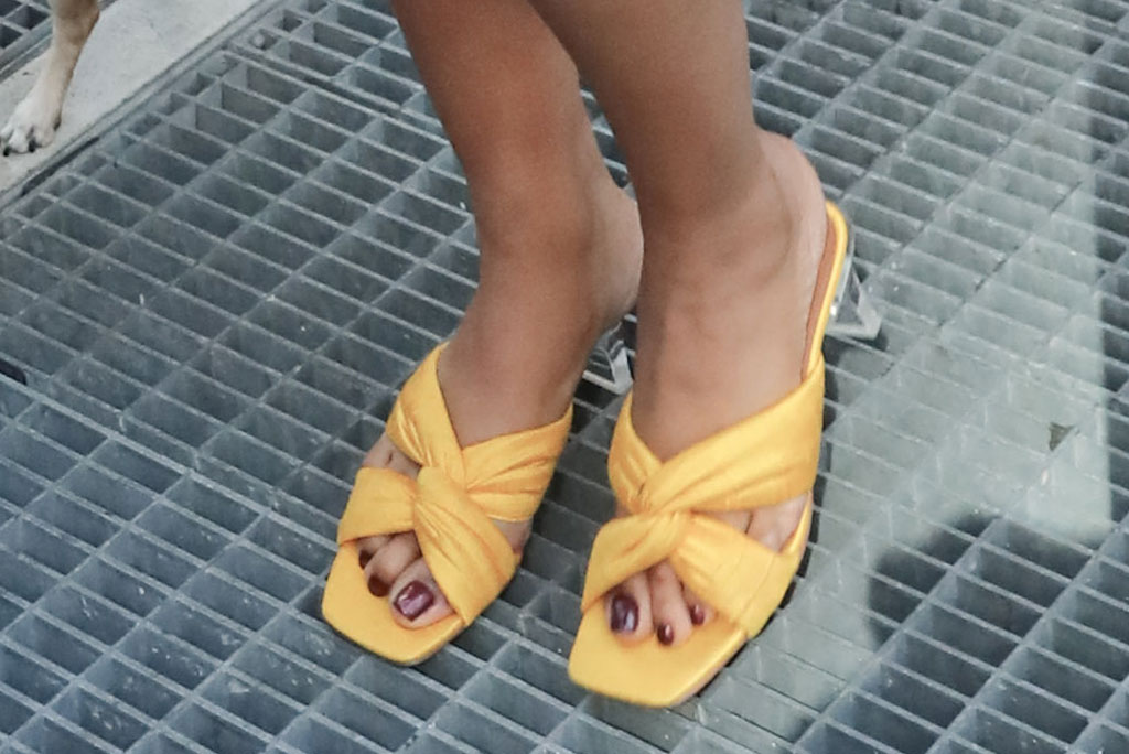 Priyanka Chopra, yellow, sandals, pedicure, celebrity style, toes, see-through, clear heels, square toe trend,