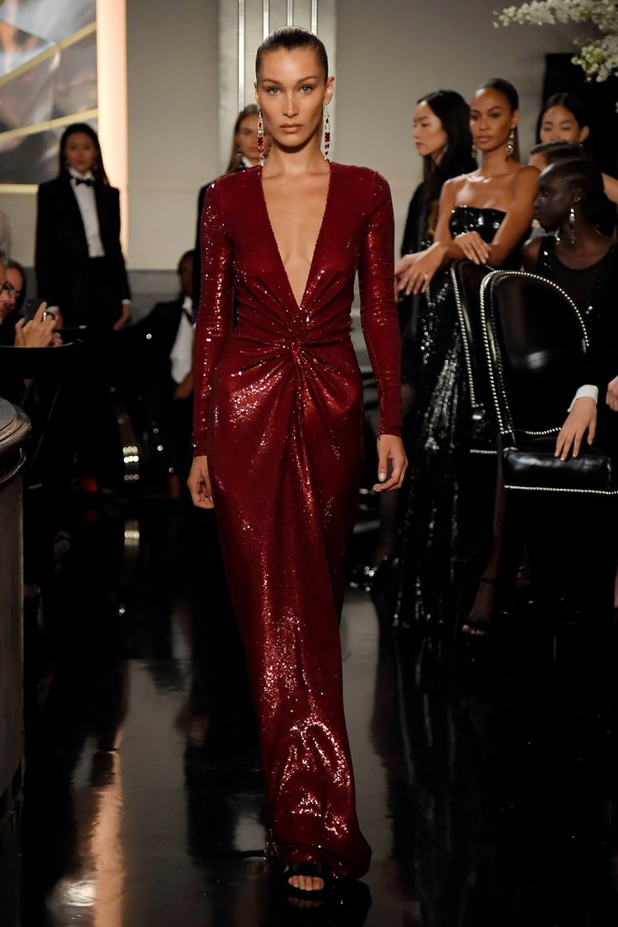 Bella Hadid, model, glittery gown, on the catwalkRalph Lauren show, Runway, Fall Winter 2019, New York Fashion Week, USA - 07 Sep 2019
