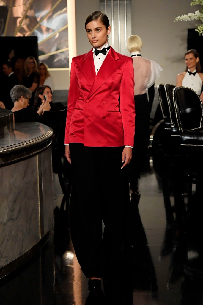 Taylor Hill, runway, Ralph Lauren, spring 2020, tuxedo, on the catwalkRalph Lauren show, Runway, Fall Winter 2019, New York Fashion Week, USA - 07 Sep 2019