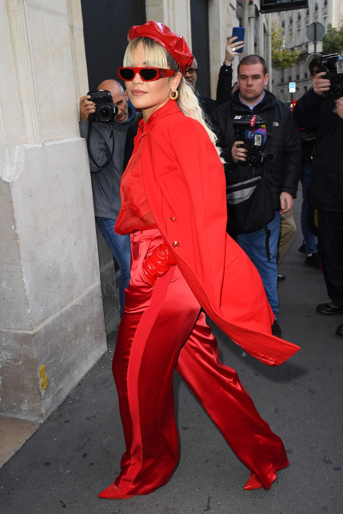 Rita Ora, escada, red outfit, jacket, gloves, beret, sunglasses, sheer blouse, red pants, giuseppe Zanotti shoes, red pumps, Escada x Rita Ora, Spring Summer 2020, Paris Fashion Week, France - 29 Sep 2019