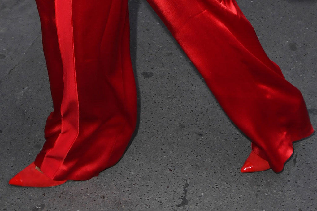 Rita Ora, escada, Paris fashion week, celebrity style, street style, pointy toe pumps, red stilettos
