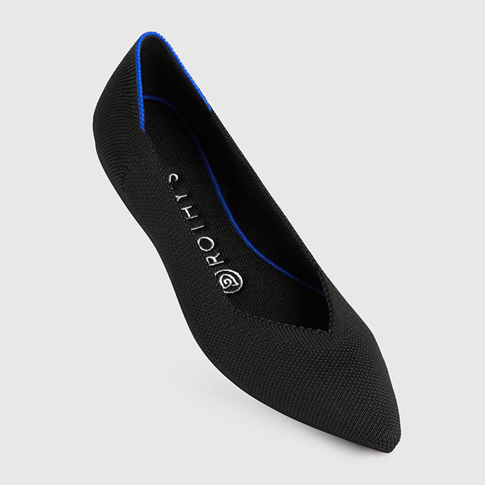 black rothys flats, pointed toe, blue halo