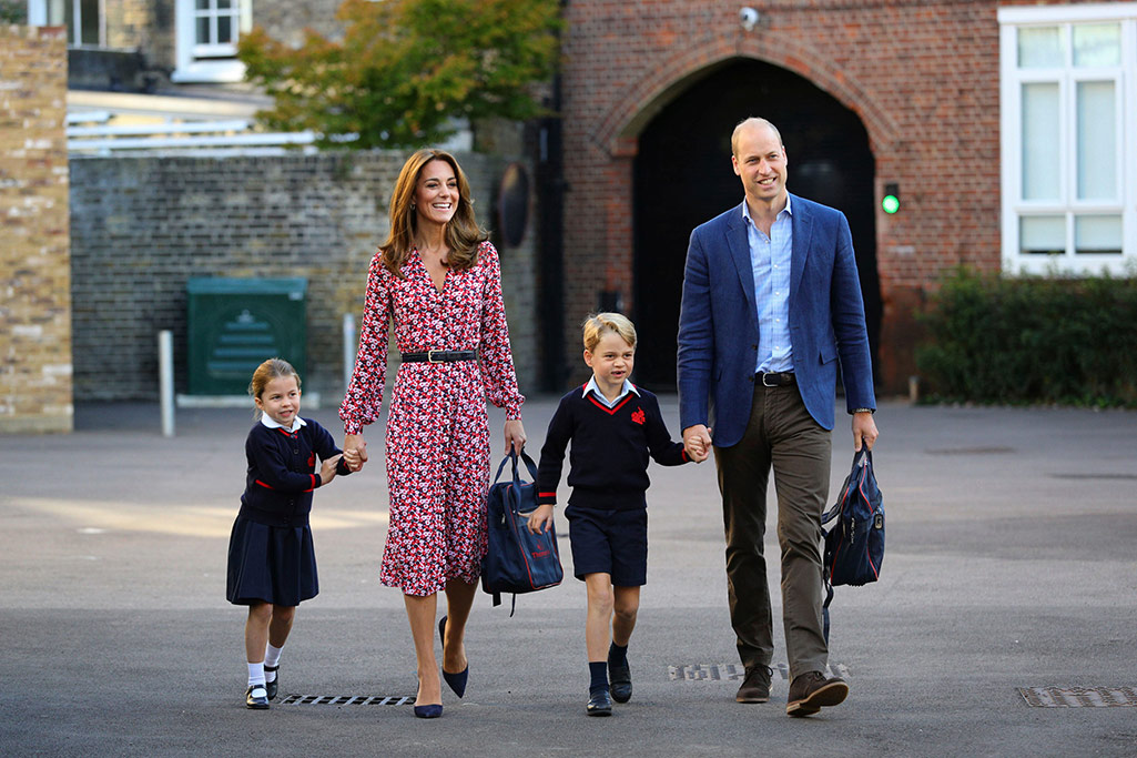 Kate Middle and Prince William accompany Princess Charlotte for her first day at her new school already attended by Prince George.
