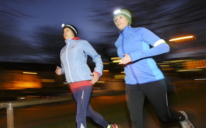 running with a headlamp