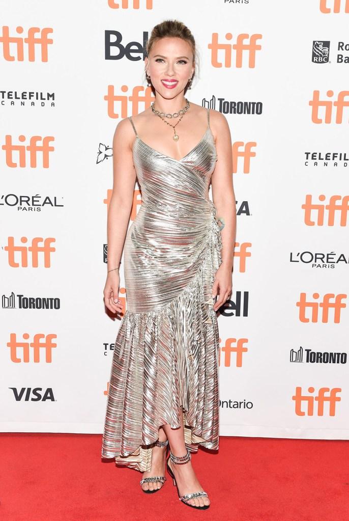 Scarlett Johansson', gold dress, rodarte dress, red carpet, aquazzura sandals, Jojo Rabbit' premiere, Arrivals, Toronto International Film Festival, Canada - 08 Sep 2019Wearing Rodarte