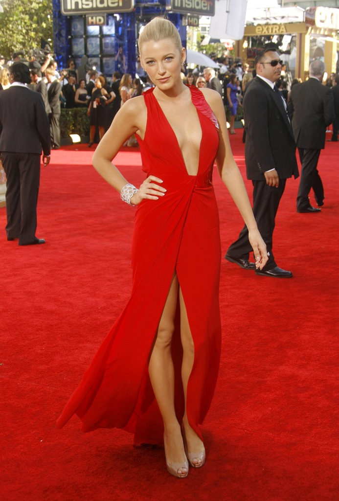 Blake Lively, nude sandals, christian louboutin shoes, Versace, red dress, cleavage, legs, 61st Annual Primetime Emmy Awards, Arrivals, Los Angeles, America - 20 Sep 2009
